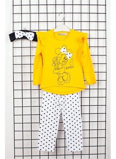 Disney Minnie Mouse Bandajlı Kız Çocuk 2'Li Alt Üst Takım Sarı